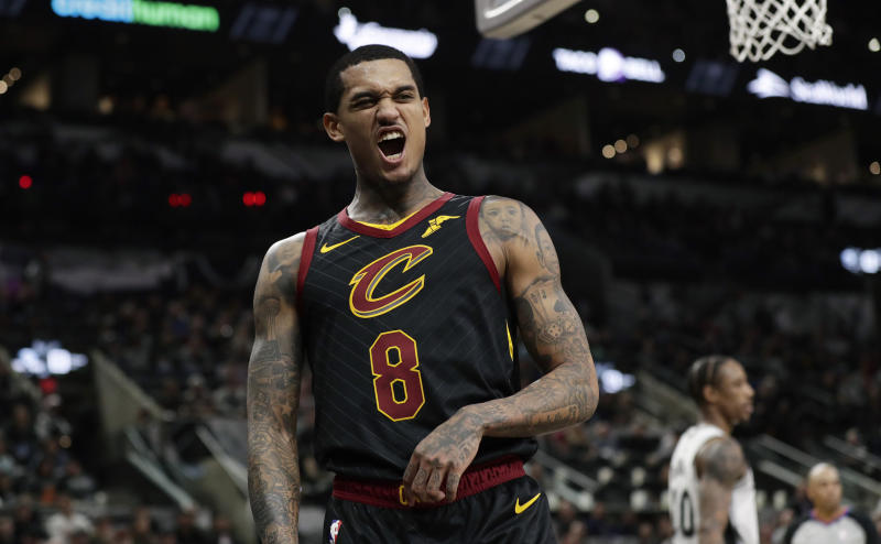 Cleveland Cavaliers guard Jordan Clarkson (8) reacts after a play during the second half of an NBA basketball game against the San Antonio Spurs, in San Antonio, Thursday, Dec. 12, 2019. (AP Photo/Eric Gay)