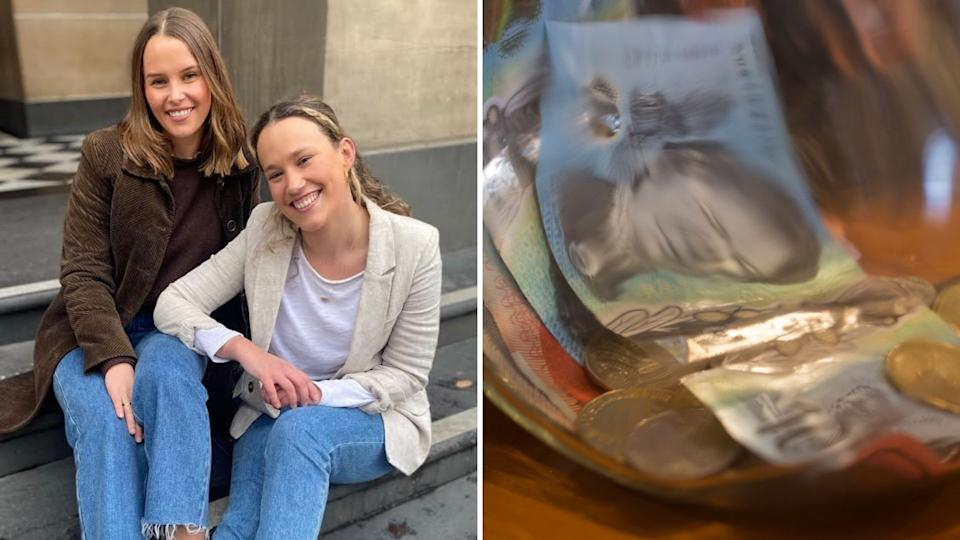 Sophie Dicker and Maddie Guest sit on steps and smile, jar with Australian cash in it.