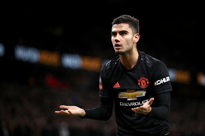 Manchester United's Andreas Pereira appeals a decision Wolverhampton Wanderers v Manchester United - FA Cup - Third Round - Molineux 04-01-2020 . (Photo by Tim Goode/EMPICS/PA Images via Getty Images)