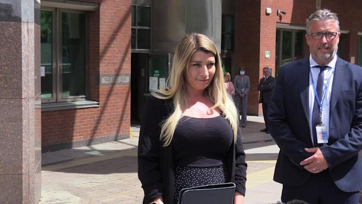 Sophia Class, daughter Samantha Class, outside Sheffield Crown Court after Gary Allen was found guilty. (PA)