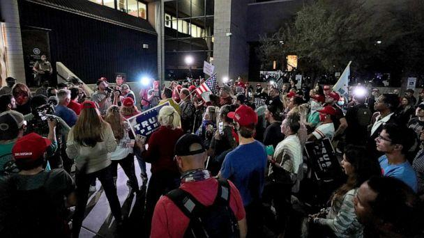 PHOTO: President Donald Trump supporters rally, Nov. 4, 2020, outside the Maricopa County Recorders Office in Phoenix. (Matt York/AP)