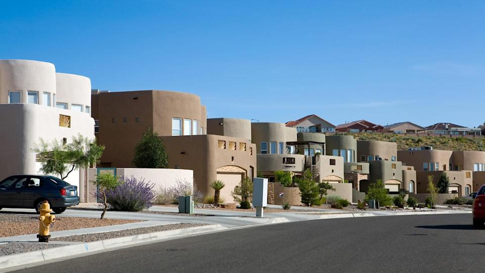 Newer adobe homes in New Mexico.