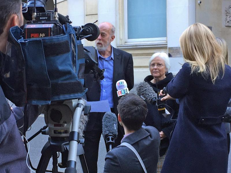 Thomas Orchard's father Ken and mother Alison Orchard speak to the media outside Bristol Crown Court: PA