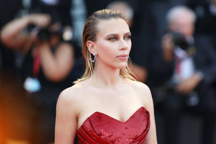 Scarlett Johansson is photographed at a red carpet event