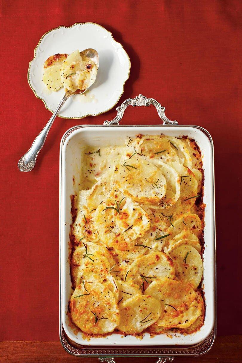 """<p><b>Recipe: </b><a href=""""https://www.southernliving.com/syndication/fennel-potato-gratin"""" rel=""""nofollow noopener"""" target=""""_blank"""" data-ylk=""""slk:Fennel-and-Potato Gratin"""" class=""""link rapid-noclick-resp""""><b>Fennel-and-Potato Gratin</b></a></p> <p>This gratin feels like fall, thanks to nutmeg and fennel. Pair it with a chilly autumn night, and enjoy the festive flavor. </p>"""