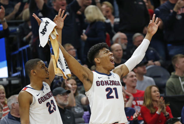 Gonzaga's Zach Norvell Jr. (23) and Rui Hachimura (21) celebrate a score against Baylor during the first half of a second-round game in the NCAA men's college basketball tournament Saturday, March 23, 2019, in Salt Lake City. (AP Photo/Rick Bowmer)