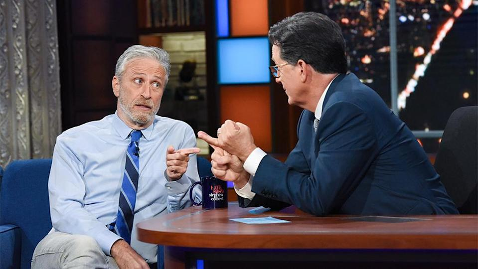 The Late Show with Stephen Colbert and guest Jon Stewart during Monday's June 14, 2021 show. Photo: Scott Kowalchyk/CBS ©2021 CBS Broadcasting Inc. All Rights Reserved. - Credit: Scott Kowalchyk/CBS