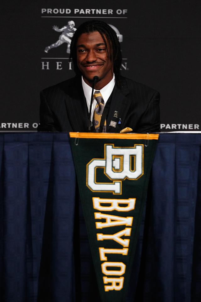 NEW YORK, NY - DECEMBER 10: Heisman Trophy finalist Robert Griffin III of the Baylor Bears speaks during a press conference at The New York Marriott Marquis on December 10, 2011 in New York City. (Photo by Jeff Zelevansky/Getty Images)
