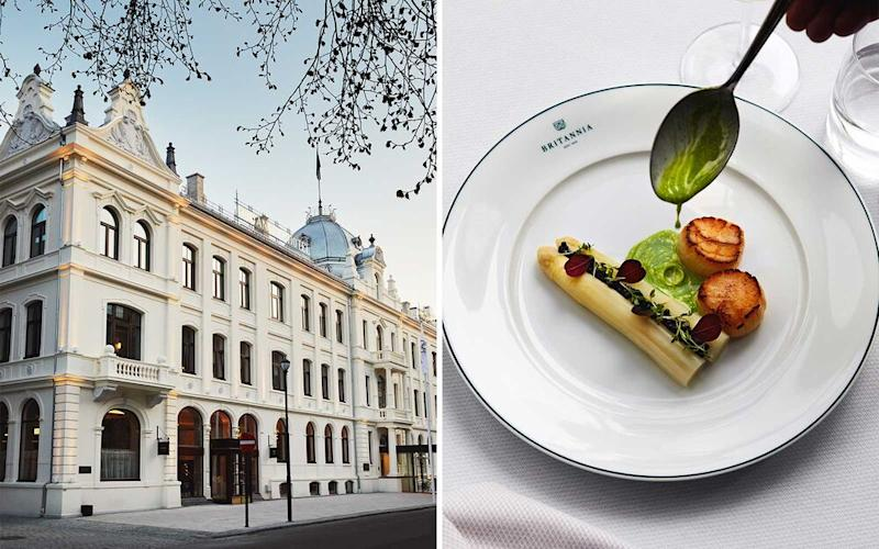 From left: Fit for a queen: Elizabeth II stayed at the Britannia Hotel in 1969; scallops and white asparagus at the Palmehaven, a restaurant in the Britannia. | Lars Petter Pettersen/Courtesy of Britannia Hotel