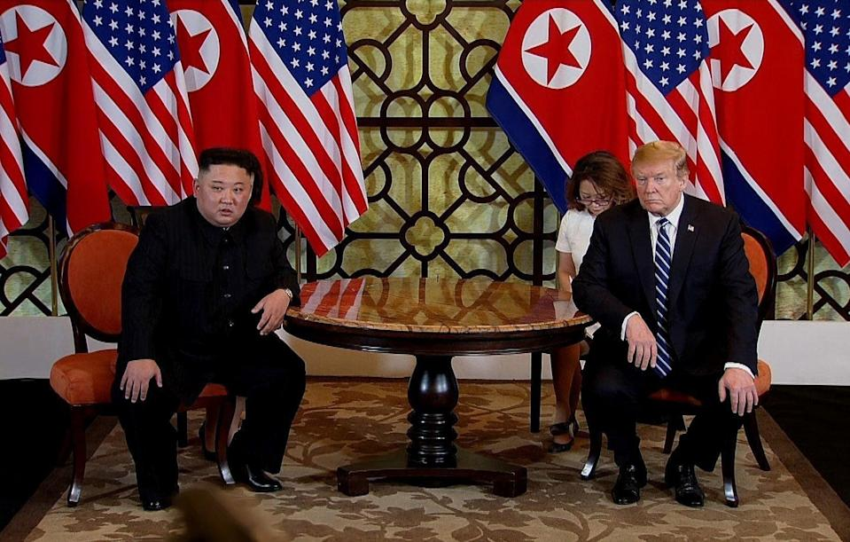 <p>File Image: In this handout photo provided by Vietnam News Agency, US president Donald Trump (R) and North Korean leader Kim Jong-un (L) during their second summit meeting at the Sofitel Legend Metropole hotel on 28 February, 2019 in Hanoi, Vietnam</p> (Getty Images)