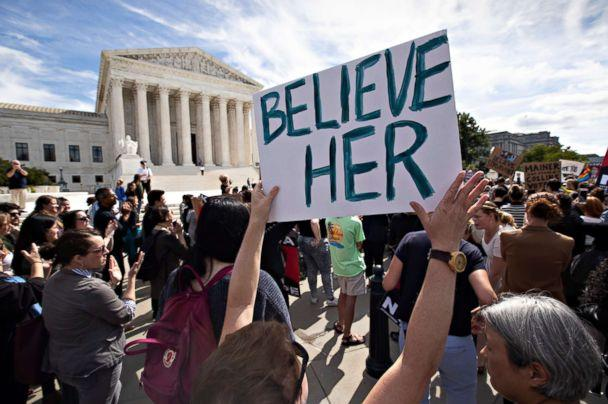 PHOTO: Protesters rally against Supreme Court nominee Brett Kavanaugh as the Senate Judiciary Committee debates his confirmation, Sept. 28, 2018, at the Supreme Court in Washington. (J. Scott Applewhite/AP Photo)