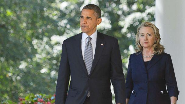 PHOTO: President Barack Obama and Secretary of State Hillary Clinton make their way to deliver a statement in the Rose Garden of the White House, Sept. 12, 2012 in Washington. (Mandel Ngan/AFP/Getty Images)