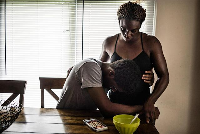 <p>Claressa Shields, 20, says goodbye to her boyfriend Adrell Holmes in his family home in Flint, Mich. , June 2015. The Olympic Gold Medalist is moving away from her hometown for Colorado for the first time in her life, leaving behind her friends and family.<br> (Photograph by Zackary Canepari) </p>