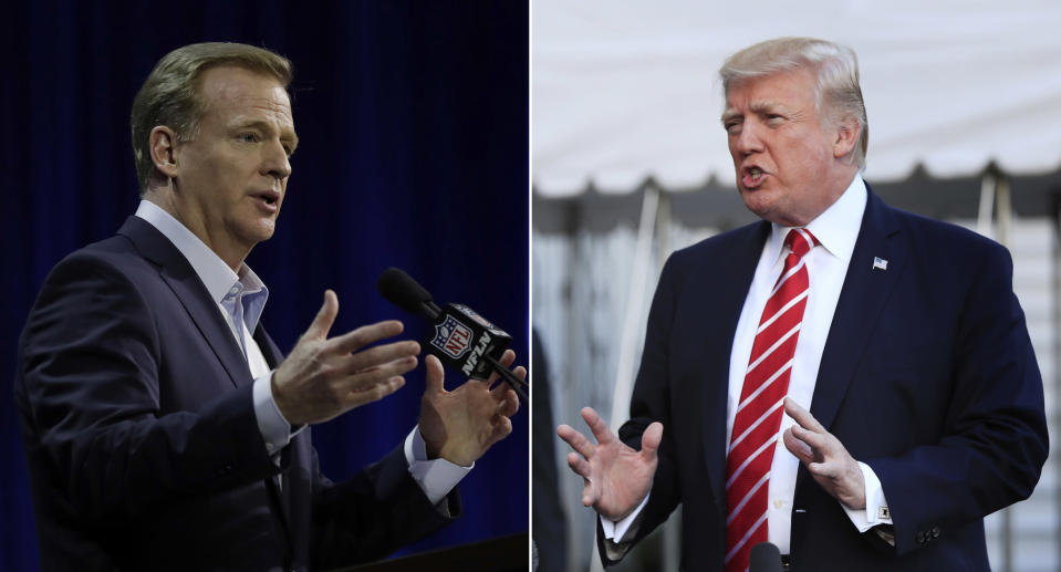 The heat that President Donald Trump brought on the NFL was too much for commissioner Roger Goodell and ownership to take. (AP)