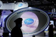 FILE PHOTO: Pfizer signs are seen at the third China International Import Expo (CIIE) in Shanghai