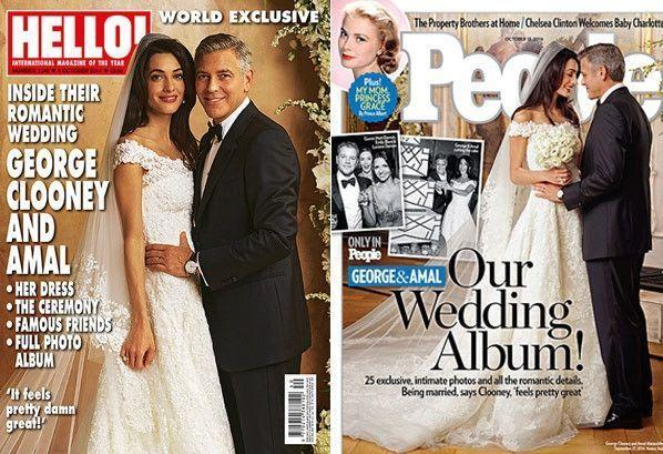"""<p>George Clooney and Amal Alamuddin <a href=""""https://www.brides.com/story/george-clooney-amal-clooney-wedding-photos"""" rel=""""nofollow noopener"""" target=""""_blank"""" data-ylk=""""slk:tied the knot"""" class=""""link rapid-noclick-resp"""">tied the knot</a> at the Aman Canal Grande luxury resort in Venice in September 2014. It was an intimate ceremony of 100 guests, which included Matt Damon, Cindy Crawford, and Bill Murray. </p>"""