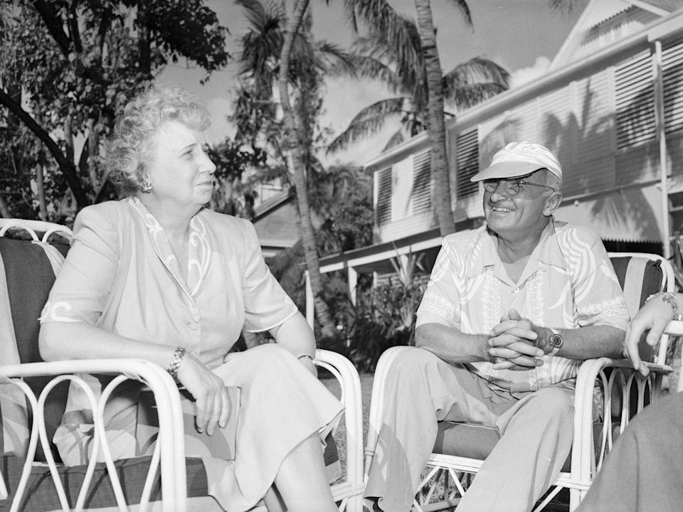 """<p>Harry and Bess Truman keep it casual at their residence in Key West, Florida in 1948, which came to be known as the """"Little White House.""""</p>"""