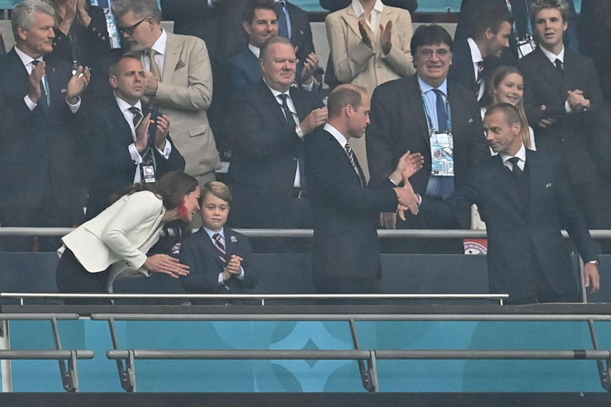 Guests, including Prince William, Duke of Cambridge, Prince George of Cambridge, and Catherine, Duchess of Cambridge, UEFA President Aleksander Ceferin, are seen before the UEFA EURO 2020 final football match between Italy and England at the Wembley Stadium in London on July 11, 2021. (Photo by Paul ELLIS / POOL / AFP) (Photo by PAUL ELLIS/POOL/AFP via Getty Images)