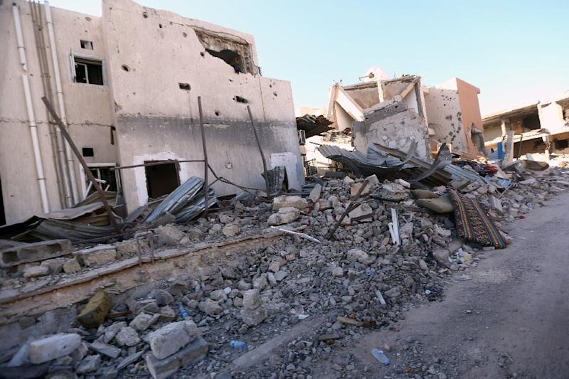Damaged buildings in Sirte last month (AFP Photo/Mahmud Turkia)