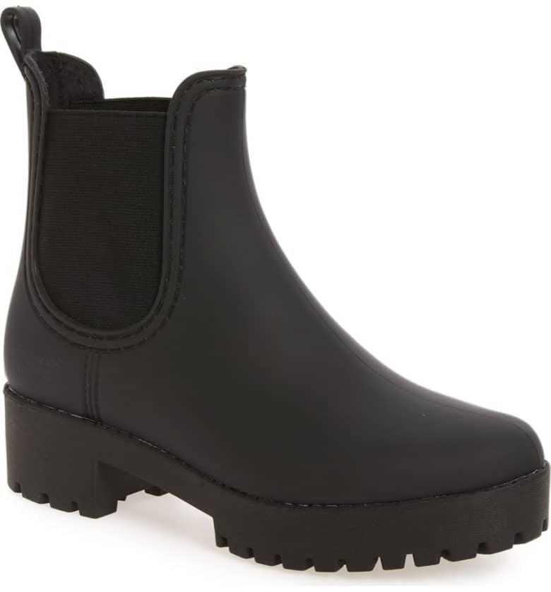 <p>With the fun platform and thick sole, these <span>Jeffrey Campbell Cloudy Waterproof Chelsea Rain Boots</span> ($55) will help you weather any storm. Plus, they're super affordable.</p>