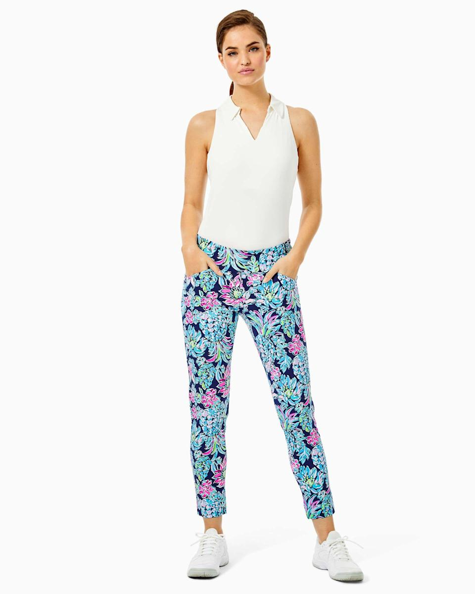 """<p><strong>lilly pulitzer</strong></p><p>lillypulitzer.com</p><p><strong>$138.00</strong></p><p><a href=""""https://go.redirectingat.com?id=74968X1596630&url=https%3A%2F%2Fwww.lillypulitzer.com%2Fupf-50-luxletic-28-corso-pant%2F002623.html%3Fdwvar_002623_color%3D4342CT&sref=https%3A%2F%2Fwww.prevention.com%2Fbeauty%2Fstyle%2Fg36320853%2Fbest-sun-protective-clothing%2F"""" rel=""""nofollow noopener"""" target=""""_blank"""" data-ylk=""""slk:Shop Now"""" class=""""link rapid-noclick-resp"""">Shop Now</a></p><p>Warm weather calls for a bright, fun wardrobe, and these <strong>UPF 50+ pants </strong>are just what you need to stand out <em>and</em> stay safe from the sun's rays.</p>"""