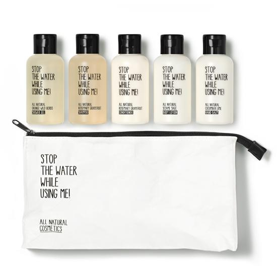 """<p>If she's an eco-friendly traveler, she'll love this travel-sized pack of natural toiletries that support projects to conserve water and provide drinkable water around the globe.<b><a href=""""http://www.shen-beauty.com/collections/gifts-travel/products/stop-the-water-while-using-me-travel-kit"""">Stop The Water While Using Me! Travel Kit</a> ($60)</b><br /></p>"""