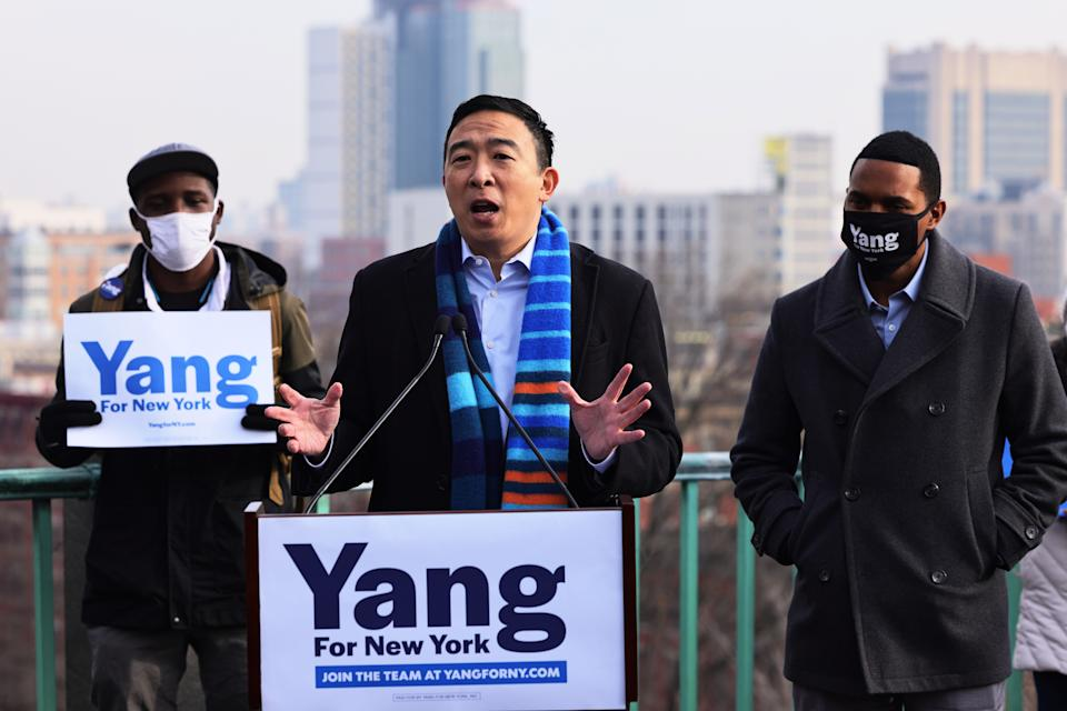 New York City Mayoral candidate Andrew Yang speaks at a press conference on January 14, 2021 in New York City. Former presidential candidate Andrew Yang announced his candidacy for Mayor of New York City. (Michael M. Santiago/Getty Images)