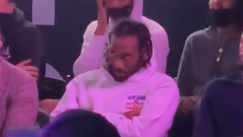 Kawhi Leonard was taking in the sights and sounds at the groundbreaking ceremony for the Clippers' new stadium. (Photo via @ArashMarkazi/Twitter)