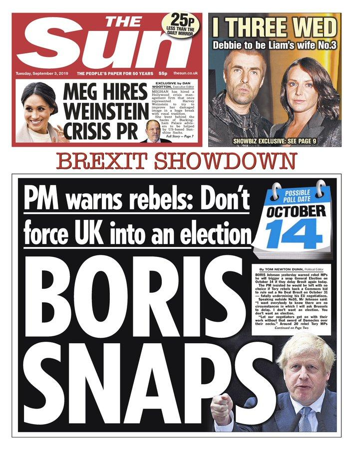 Boris Snaps: The Sun says Mr Johnson has tried to warn rebel MPs not to force an early election.
