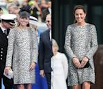 <p> Kate wore this leopard print Hobbs coat first in 2013 for a ship naming ceremony and then again in 2015 during a visit to Margate. </p>