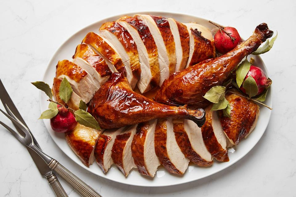 """This is one of our most popular turkey dinner recipes every year across the U.S. and Canada. You'll brine the turkey so it's evenly seasoned, then let it air-dry in the fridge for crispier skin. <a href=""""https://www.epicurious.com/recipes/food/views/my-favorite-roast-turkey-51258050?mbid=synd_yahoo_rss"""" rel=""""nofollow noopener"""" target=""""_blank"""" data-ylk=""""slk:See recipe."""" class=""""link rapid-noclick-resp"""">See recipe.</a>"""