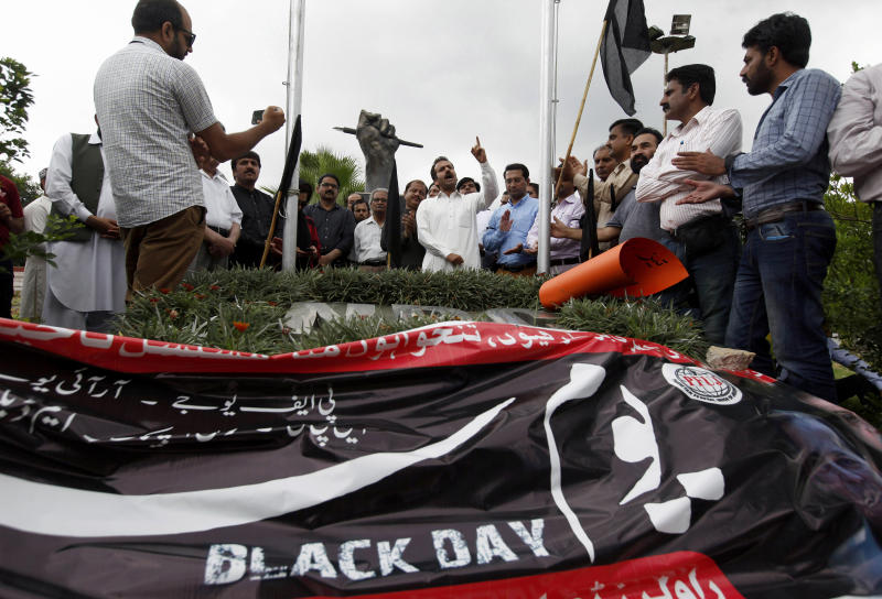 Pakistani journalists take part in a demonstration to denounce rampant censorship, in Islamabad, Pakistan, Tuesday, July 16, 2019. Pakistani journalists are holding nationwide protests to denounce rampant censorship by the country's powerful security services, massive layoffs due to budget cuts and months-long delays in payments of their wages. (AP Photo/Anjum Naveed)