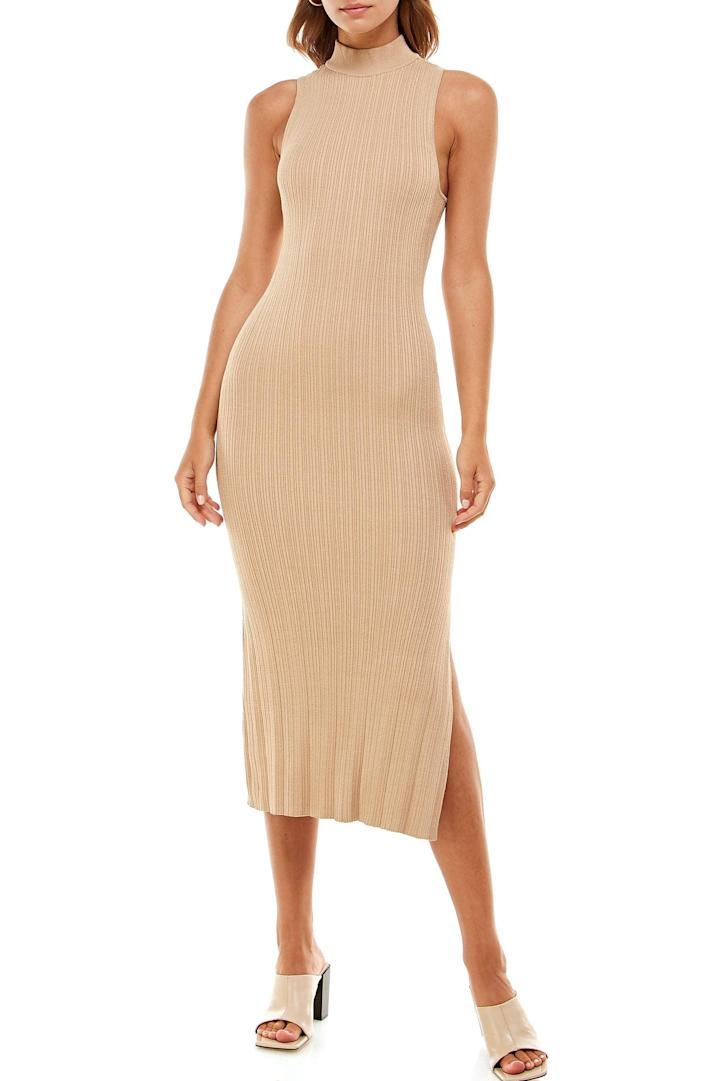 <p>This <span>Wayf Cynthia Mock Neck Tank Mididress</span> ($69) has an understated elegance that makes it irresistible. From the figure-sculpting silhouette to the side slit, it's a dress designed to make an impression.</p>