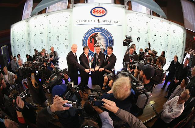 TORONTO, ON - NOVEMBER 12: (L-R) Mats Sundin, Joe Sakic, Adam Oates and Pavel Bure pose for a photo opportunity at the Hockey Hall of Fame on November 12, 2012 in Toronto, Canada. All four are former NHL players who will be inducted into the Hall during a ceremony later today. (Photo by Bruce Bennett/Getty Images)