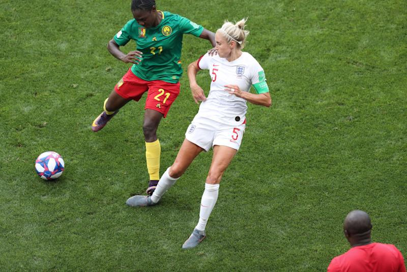 Alexandra Takounda's dangerous challenge on Steph Houghton. (Photo by Charlotte Wilson/Offside/Offside via Getty Images)