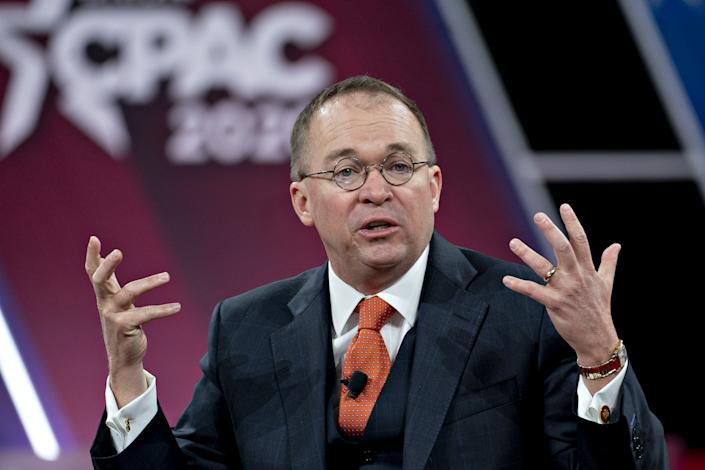 Mick Mulvaney, acting White House chief of staff, speaks during a discussion at the Conservative Political Action Conference (CPAC) in National Harbor, Maryland, U.S., on Friday, Feb. 28, 2020. (Andrew Harrer/Bloomberg via Getty Images)