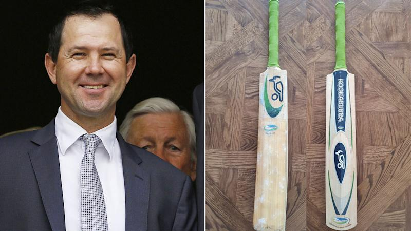 Pictured here, Ricky Ponting and his bat from the 2003 Cricket World Cup final.