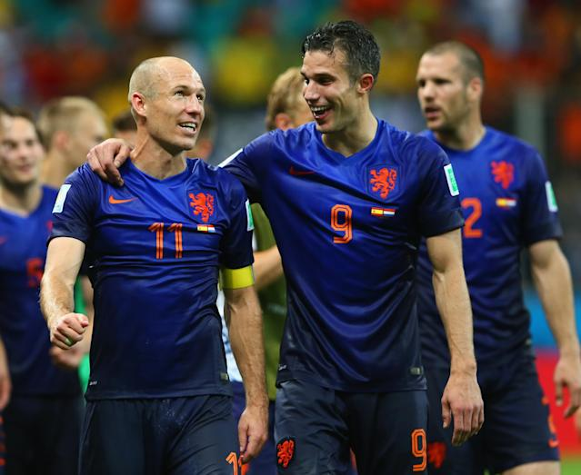 Happier times: Just three years ago, the Dutch beat World and European champions Spain 5-1