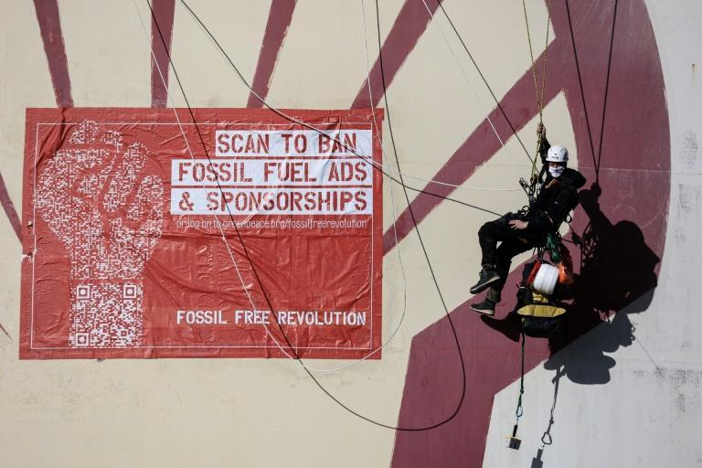 Greenpeace and 20 other groups have launched a petition calling on the EU to ban advertising and sponsorship by fossil fuel companies (AFP/Kenzo TRIBOUILLARD)