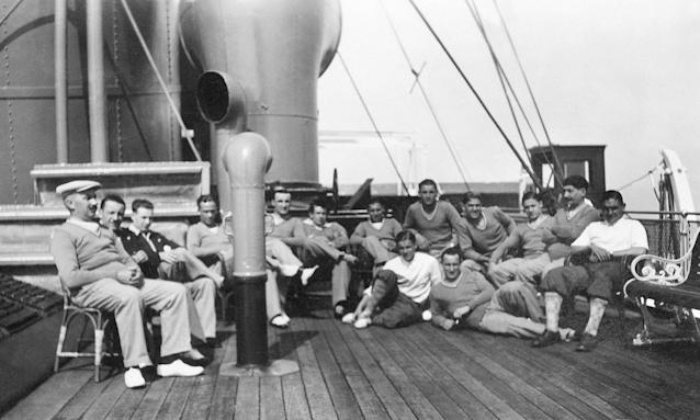France players pose after lunch for a group picture during their cruise aboard the Conte Verde in July 1930.