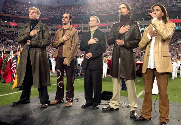 The Backstreet Boys peform the National Anthem before the Super Bowl XXXV Game between the New York Giants and Baltimore Ravens at the Raymond James Stadium in Tampa, Florida on Jan. 28, 2001.