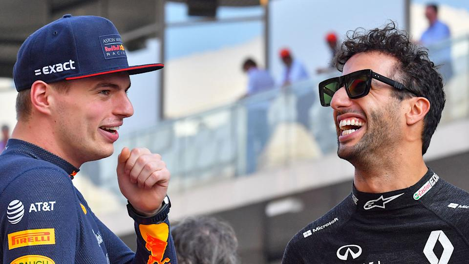 Dan Ricciardo can be seen here laughing with former Red Bull teammate Max Verstappen.