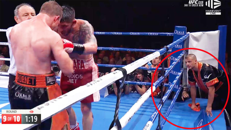 Jeff Horn's trainer, pictured here seconds away from throwing in the towel.