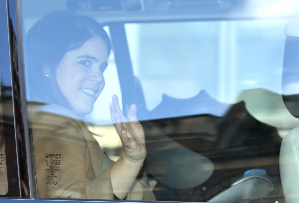 LONDON - FEBRUARY 12: Princess Eugenie of York departs the Portland Hospital for Women on February 12, 2021 in London, United Kingdom. Princess Eugenie was safely delivered of a son today, 9th February 2021, at 0855hrs at The Portland Hospital. This is Princess Eugenie and Jack Brooksbank's first child, The Duke of York and Sarah, Duchess of York's first grandchild, and the ninth great-grandchild for The Queen and The Duke of Edinburgh. (Photo by Karwai Tang/WireImage)