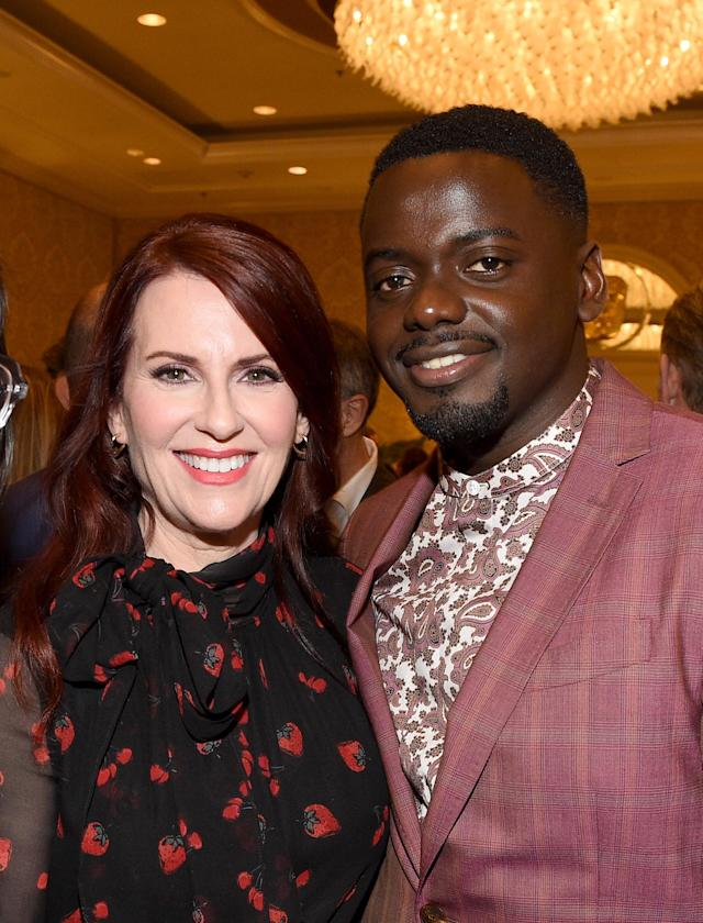 Megan Mullally with Daniel Kaluuya at the BAFTA Los Angeles Tea Party. (Photo: Getty Images)