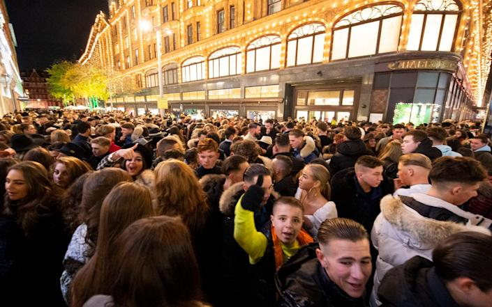 The pre-Christmas rush during the first weekend since shopping rules were lifted - Elliott Franks
