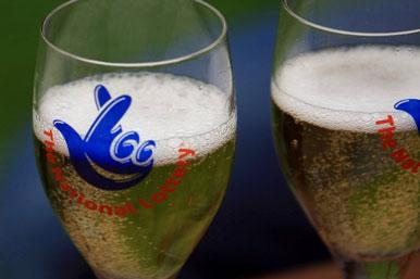 National Lottery champagne glasses