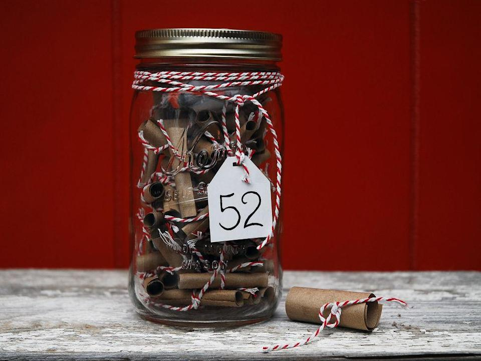 This is such a sweet idea for your partner. Fill a jar with 52 date ideas; one for every week of the year. [Photo: Pinterest]
