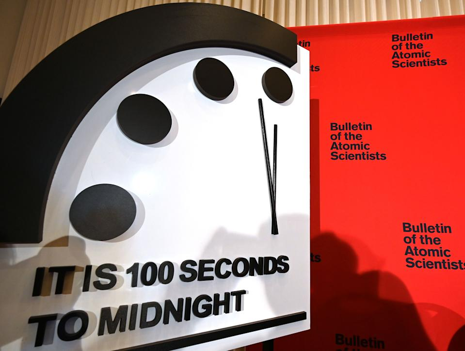 "The Doomsday Clock reads 100 seconds to midnight, a decision made by The Bulletin of Atomic Scientists, during an announcement at the National Press Club in Washington, DC on January 23, 2020. - President and CEO of the non-profit group Rachel Bronson said ""It is the closest to Doomsday we have ever been in the history of the Doomsday Clock."" The clock was created in 1947. (Photo by EVA HAMBACH / AFP) (Photo by EVA HAMBACH/AFP via Getty Images)"