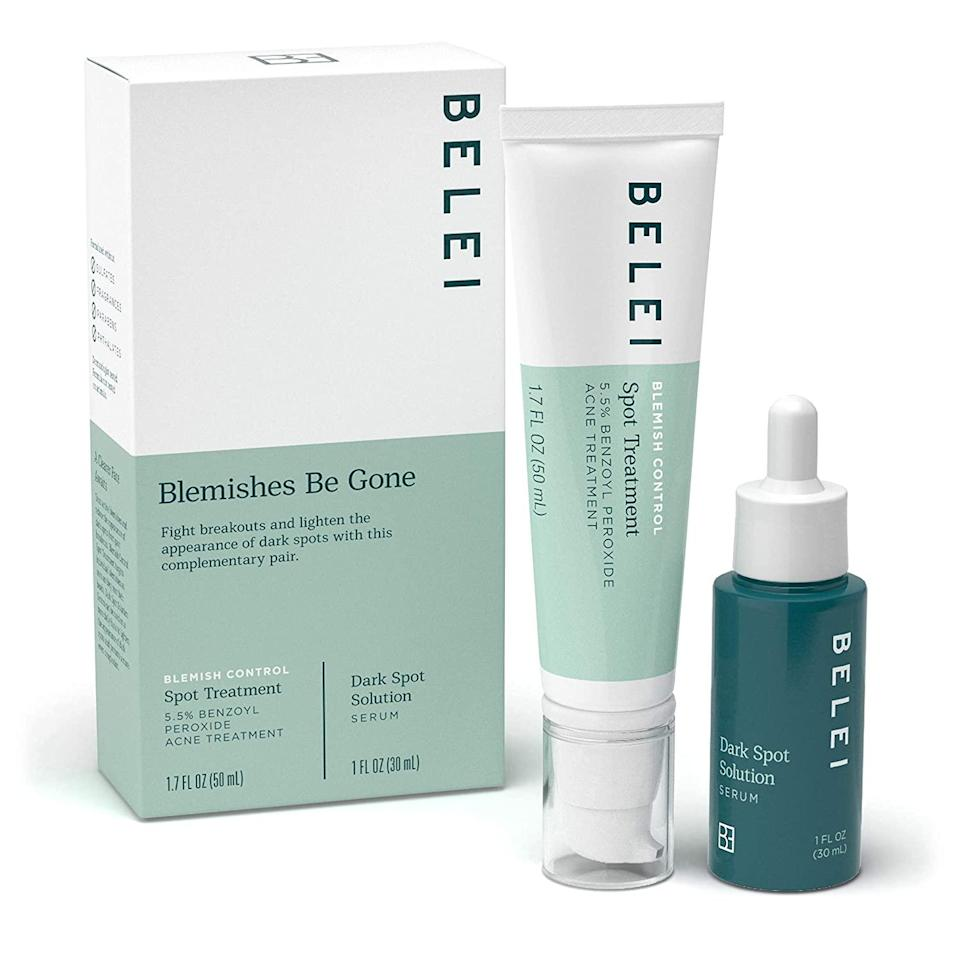 """<h3>Blemish Control Spot Treatment</h3><br><a href=""""https://www.refinery29.com/en-us/2017/12/185765/best-benzoyl-peroxide-products-for-acne"""" rel=""""nofollow noopener"""" target=""""_blank"""" data-ylk=""""slk:&quot;Benzoyl peroxide"""" class=""""link rapid-noclick-resp"""">""""Benzoyl peroxide</a> and <a href=""""https://www.refinery29.com/en-us/salicylic-acid"""" rel=""""nofollow noopener"""" target=""""_blank"""" data-ylk=""""slk:salicylic acid"""" class=""""link rapid-noclick-resp"""">salicylic acid</a> are two industry-standard ingredients for zapping zits, but Belei's spot treatment was surprisingly gentle. While it didn't irritate my skin — a huge plus — it also was perhaps a little <em>too</em> mild for anyone looking for an overnight solution. (i.e., me.)"""" — Karina Hoshikawa, Beauty & Wellness Market Writer<br><br><strong>Belei</strong> 'Blemishes Be Gone' Duo Skin Care Starter Kit, $, available at <a href=""""https://amzn.to/34vDnut"""" rel=""""nofollow noopener"""" target=""""_blank"""" data-ylk=""""slk:Amazon"""" class=""""link rapid-noclick-resp"""">Amazon</a>"""